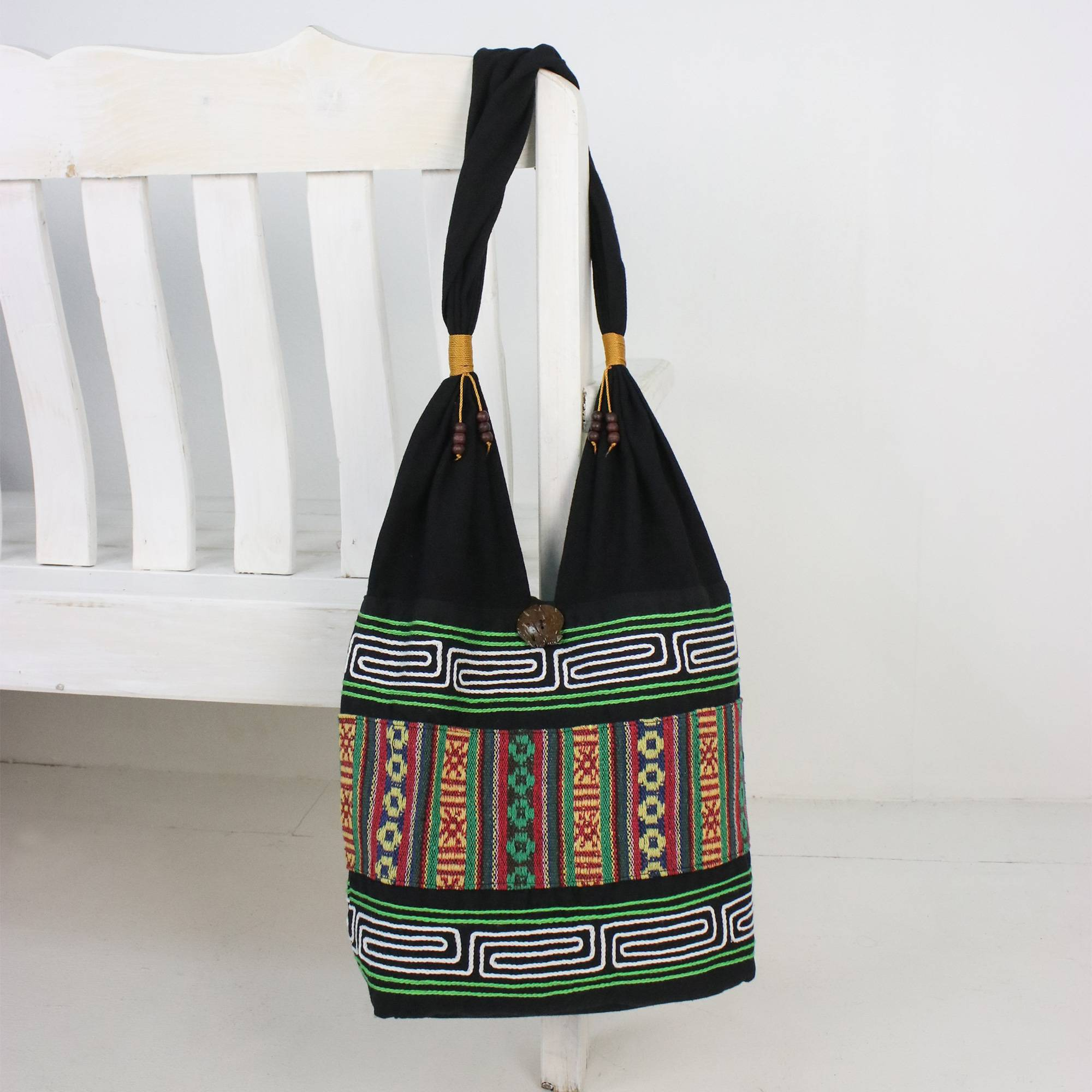 fb188edb674a Embroidered Multicolored Cotton Shoulder Bag from Thailand, 'Thai Hillside'