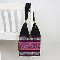 Cotton blend shoulder bag, 'Charming Diamonds' - Cotton Blend Shoulder Bag in Pink from Thailand