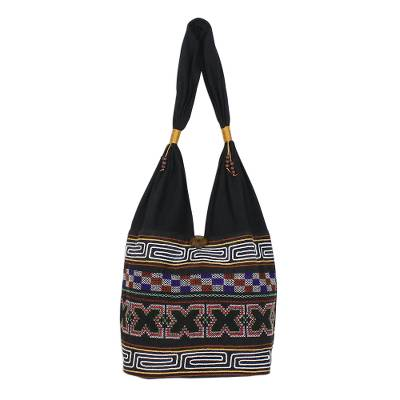 Cotton shoulder bag, 'Beautiful Hillside' - X-Motif Cotton Blend Shoulder Bag from Thailand