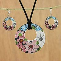 Ceramic jewelry set, 'Harmonies and Blooms' - Ceramic Floral Pendant Necklace and Earrings Jewelry Set