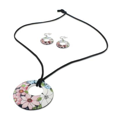 174ae3cdf Ceramic Floral Pendant Necklace and Earrings Jewelry Set, 'Harmonies and  Blooms'. Product ID: U29561