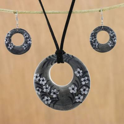 Ceramic jewelry set, 'Blooming Midnight' - Ceramic Black Floral Pendant Necklace Dangle Earrings Set