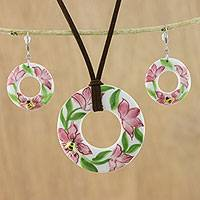 Ceramic jewelry set, 'Bumble Bee Blossoms' - Thai Ceramic Bee Pendant Necklace and Dangle Earrings Set