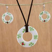 Ceramic jewelry set, 'Humming Ladybug' - Ceramic White Ladybug Pendant Necklace Dangle Earrings Set