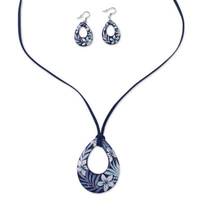 Ceramic Blue Floral Pendant Necklace Dangle Earrings Set