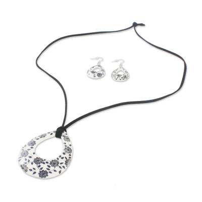 c7634f1c4 Ceramic White Floral Pendant Necklace Dangle Earrings Set, 'Blossoming  Vines'. Product ID: U32278