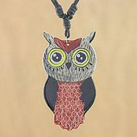 Ceramic pendant necklace, 'Alluring Red Owl' - Thai Handmade Ceramic Owl Pendant Necklace