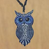 Ceramic pendant necklace, 'Alluring Blue Owl' - Thai Handmade Blue Ceramic Owl Adjustable Pendant Necklace