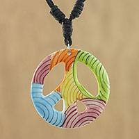 Ceramic pendant necklace, 'Colorful Peace' - Thai Handcrafted Ceramic Peace Sign Pendant Necklace