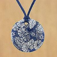 Ceramic pendant necklace, 'Underwater Blooms' - Handmade Blue Floral Ceramic Pendant Necklace