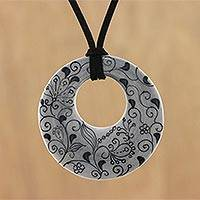 Ceramic pendant necklace, 'Flower Lines' - Ceramic Handmade Floral Black and White Pendant Necklace