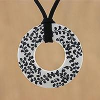 Ceramic pendant necklace, 'Fern Scrolls' - Ceramic Handmade Black and White Floral Pendant Necklace