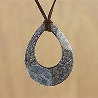 Ceramic pendant necklace, 'Brown Mist' - Ceramic Thai Handmade Brown Leaf Pattern Pendant Necklace