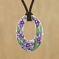 Ceramic pendant necklace, 'Lush Lilac' - Ceramic Thai Handmade Lilac Floral Pendant Necklace