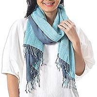 Cotton reversible scarf, 'Ocean Tones'