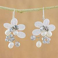 Cultured pearl and quartz cluster earrings, 'Winter Moment' - Cultured Freshwater Pearl White Quartz Cluster Earrings
