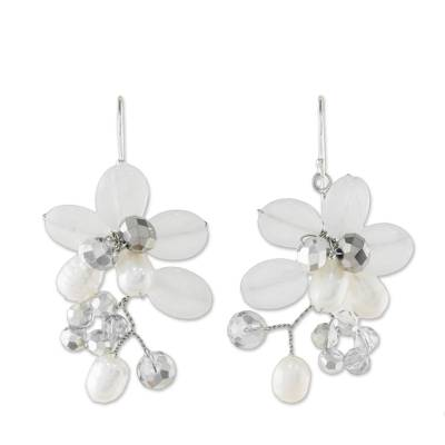 Cultured Freshwater Pearl White Quartz Cluster Earrings
