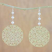 Cultured pearl dangle earrings, 'Elegant Coin' - Cultured Freshwater Pearl Openwork Coin Earrings