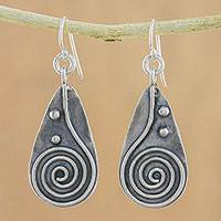 Sterling silver dangle earrings, 'Spiral Drop' - 925 Sterling Silver Spiral Dangle Earrings from Thailand