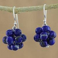Lapis lazuli dangle earrings, 'Blue Grapes' - Lapis Lazuli Cluster Dangle Earrings from Thailand
