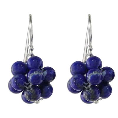 Lapis Lazuli Cluster Dangle Earrings from Thailand