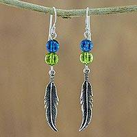 Quartz dangle earrings, 'Gentle Feathers' - Thai Quartz and Sterling Silver Feather Dangle Earrings