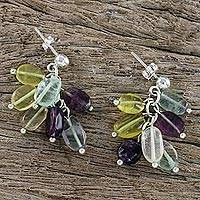 Fluorite cluster earrings, 'Moonlit Aura' - Multicolored Fluorite Cluster Earrings Handmade in Thailand