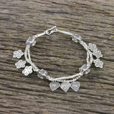 Silver Beaded Charm Bracelet Heart And Flower 950 Sterling