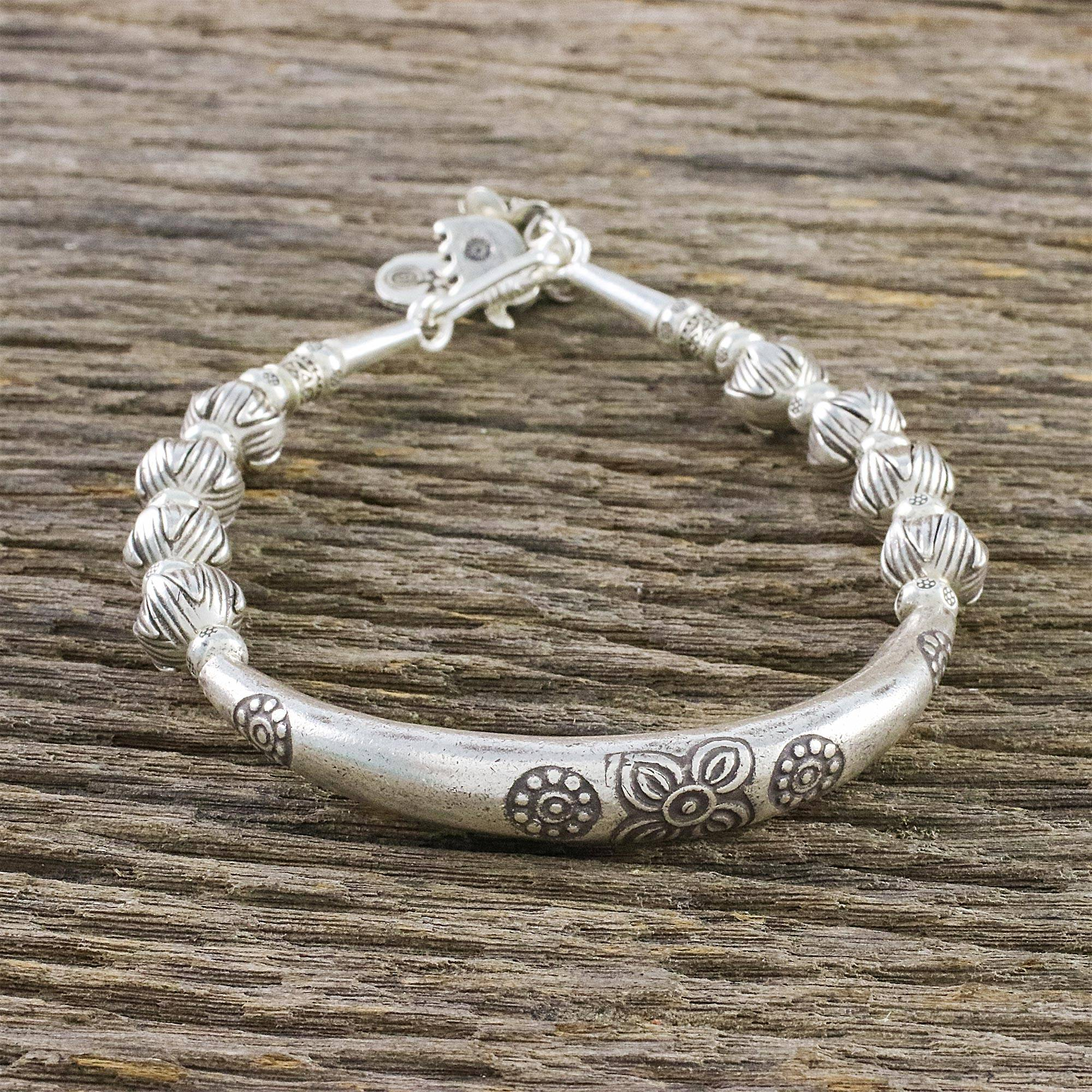c7ba2b3c808e3 950 Silver Floral Beaded Bracelet from Thailand, 'Harmony of Nature'