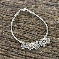 Silver beaded charm bracelet, 'Love Struck' - 950 and Sterling Silver Beaded Flower Heart Charm Bracelet