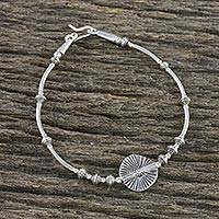 Silver beaded pendant bracelet, 'Moon Dance' - Karen 950 and Sterling Silver Beaded Disc Coin Bracelet
