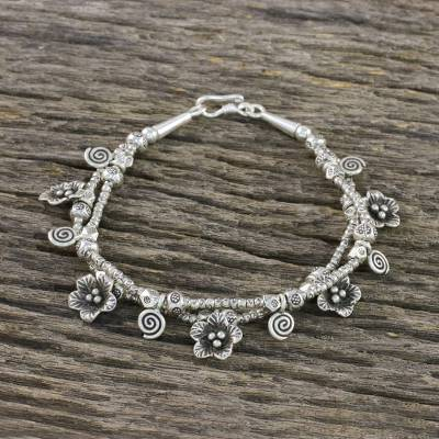 Silver beaded charm bracelet, 'Swirl Dance' - 950 Silver and Sterling Silver Beaded Swirl Floral Bracelet