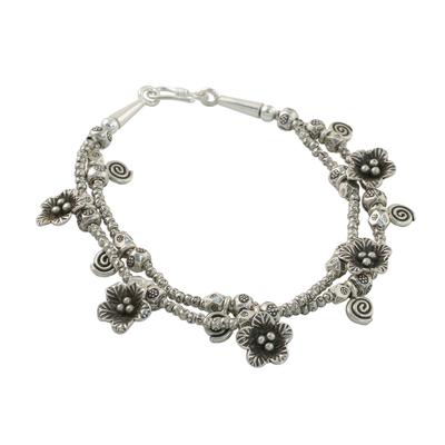 Silver beaded charm bracelet, 'Swirl Dance' - 950 Silver and Sterling Silver Beaded Swirl Floral Bracelet
