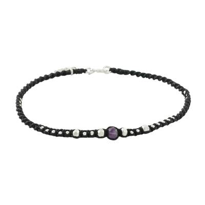 Amethyst and silver beaded charm anklet, 'Special Elephant' - Thai Amethyst and Karen Silver Beaded Elephant Charm Anklet