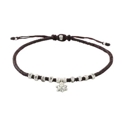 Silver charm anklet, 'Sweet Turtle' - Hand Made Thai Karen Silver Beaded Turtle Charm Cord Anklet