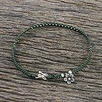 Silver beaded macrame anklet, 'Daffodil Delight' - Hand Made Thai Karen Silver Beaded Flower Charm Cord Anklet