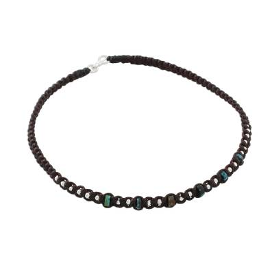 Thai Karen Silver and Recon Turquoise Beaded Cord Anklet