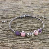 Amethyst and rose quartz silver beaded macrame bracelet, 'Sweet Karen'