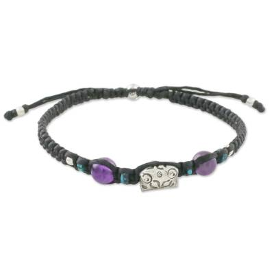 Amethyst and silver beaded macrame bracelet, 'Karen Chic' - Thai Amethyst and Recon Turquoise Silver Beaded Bracelet
