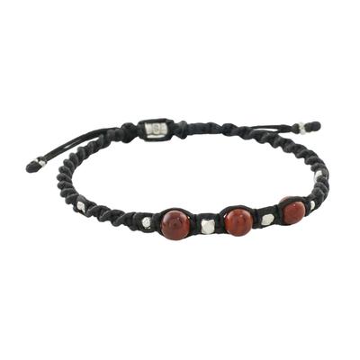 Jasper macrame cord bracelet, 'Burning Moons' - Jasper and Hill Tribe Silver Macrame Style Cord Bracelet