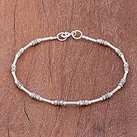 Silver beaded bracelet, 'Endless Circle' - Handmade 925 Sterling Hill Tribe Silver Beaded Bracelet