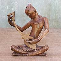 Wood sculpture, 'Thai Mandolin Player in Brown' (10 inch) - Wood Sculpture of a Musician in Brown (10 in) from Thailand