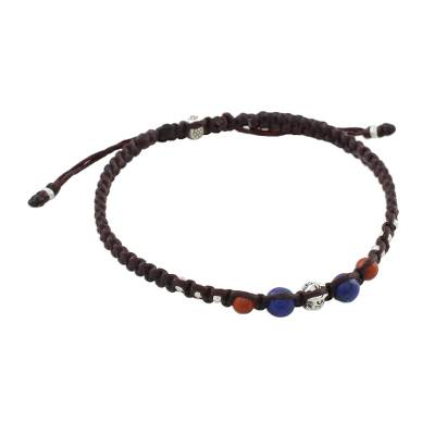Jasper and lapis lazuli macrame cord bracelet, 'Fiery Orbit' - Handmade Hill Tribe Silver Jasper Lapis Lazuli Bracelet