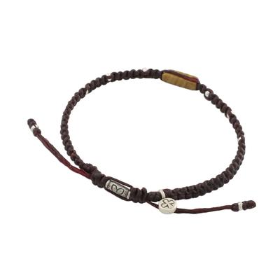 Jasper macrame cord bracelet, 'Earth Saver' - Handmade Waxed Cord Jasper Hill Tribe Silver Bracelet