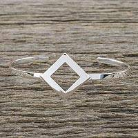 Sterling silver cuff pendant bracelet, 'Elegant Symmetry' - Sterling Silver Wire Cuff Bracelet with Diamond Shape