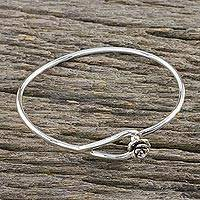 Sterling silver bangle bracelet, 'Miniature Rose' - Sterling Silver Bangle Bracelet with Rose Closure