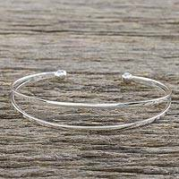 Sterling silver cuff bracelet, 'Aligned Duo' - Sterling Silver Wire Narrow Cuff Bracelet