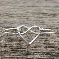 Sterling silver cuff pendant bracelet, 'Heart Line' - Sterling Silver Wire Cuff Heart Pendant Bracelet