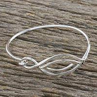 Sterling silver bangle pendant bracelet, 'Graceful Eye' - Sterling Silver Wire Bangle Bracelet with Eye Pendant