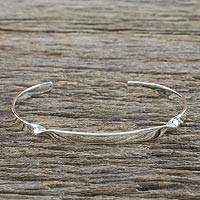 Sterling silver cuff bracelet, 'Subtle Twist' - Sterling Silver Cuff Bracelet with Twist